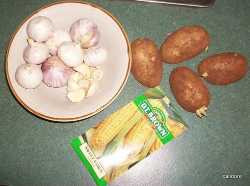 Potatoes, Garlic, Sweet Corn