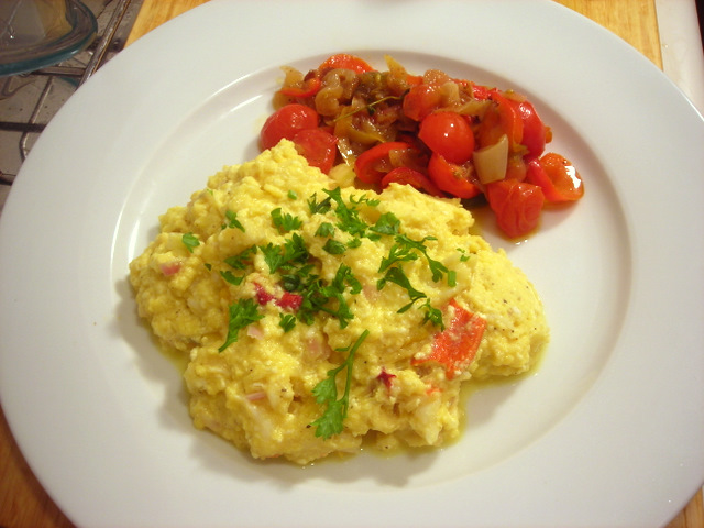 scrambled eggs with lobster, ricotta cheese and heirloom tomatoes; peperonata