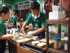 Preparing the toast, Nok Ban Cafe, Talad Rod Fai, Bangkok