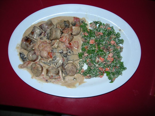 Ragout of Bratwurst, Mushrooms and Tomatoes and Kale Salad