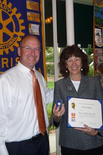 Congratulations, Sandra O'Meara, on your first Paul Harris Fellow
