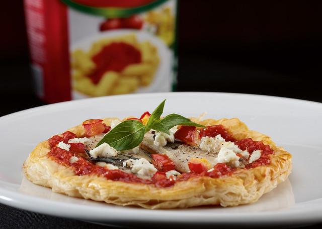 Tart Fine with Tomato Fresh Sardines and Goat Cheese