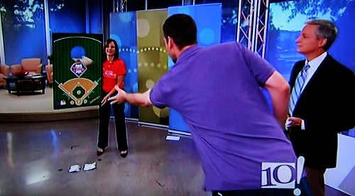 Pitcher Cliff Lee tossing beanbags
