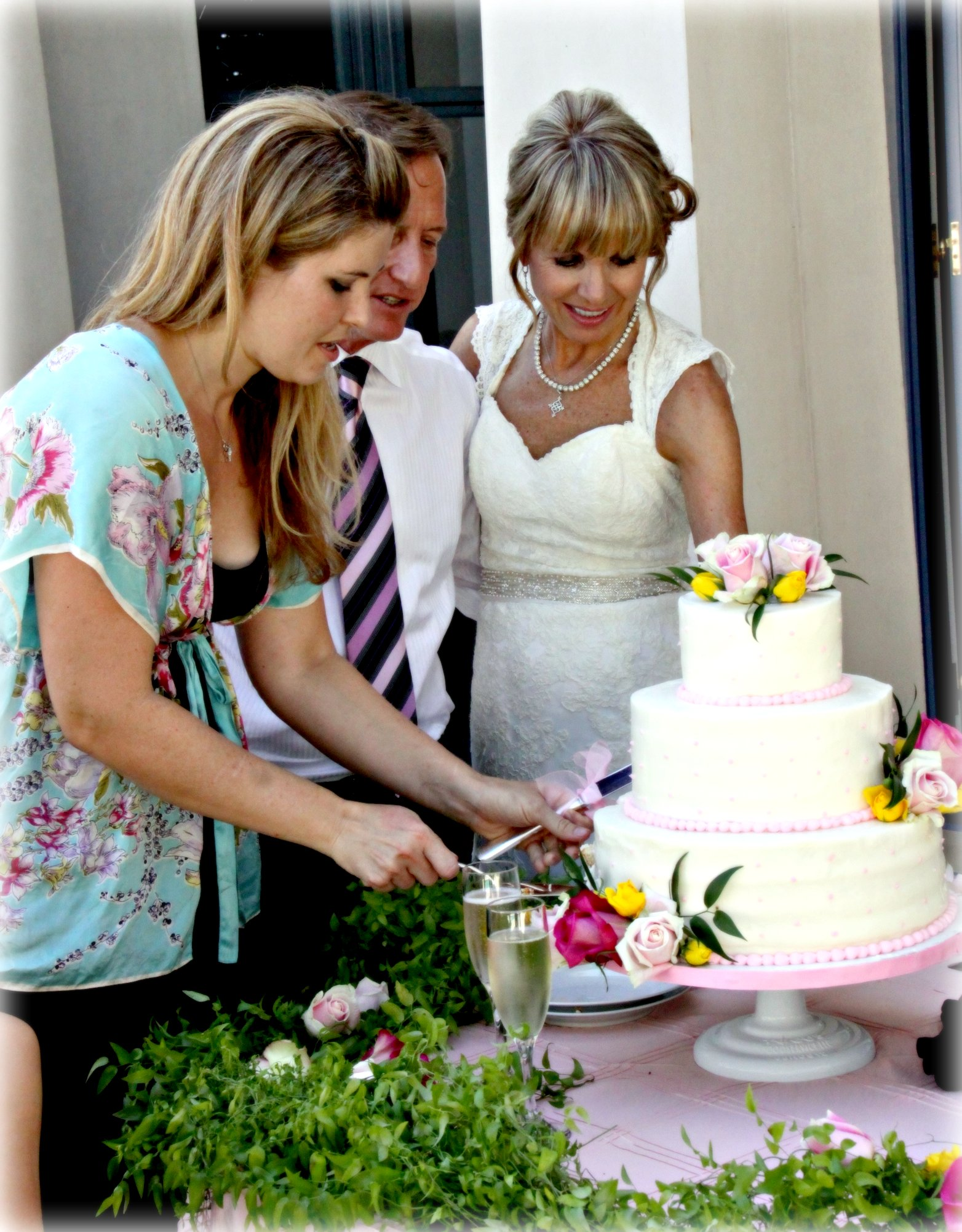 bobby and sylvia cutting cake