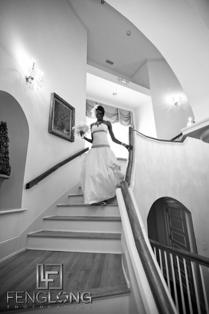 Bride Descends Stairs | Trina + Shawn Wedding | Wimbish House (Atlanta Women's Club) | Midtown Atlanta Wedding Photographer