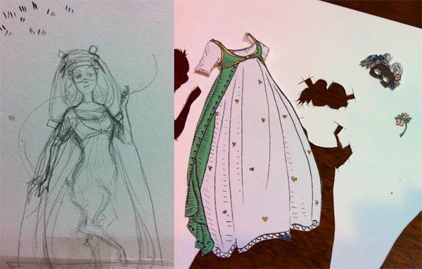 Paper dolls in progress