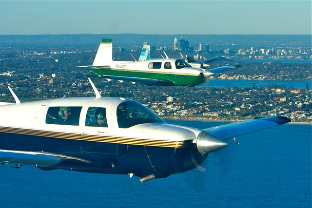 4 plane (Mooney) formation practice with Perth in the background
