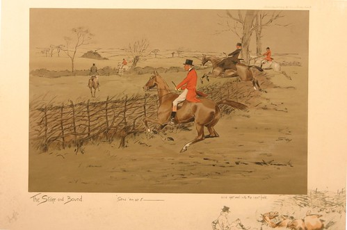 The Stake and Bound, by Snaffles, which shows the hunt jumping a stake-and-bound fence.