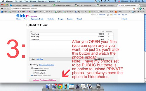now upload, set privacy