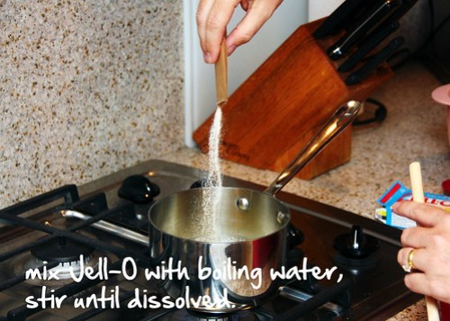 add your jell-o to the boiling water
