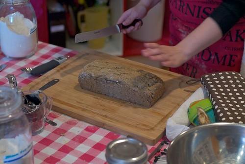 buckwheat loaf slicing
