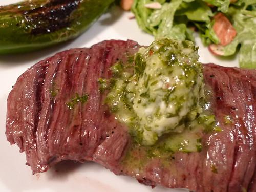 Chimichurri Butter on Skirt Steak