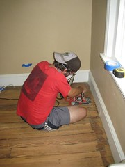 Todd edging with the belt sander