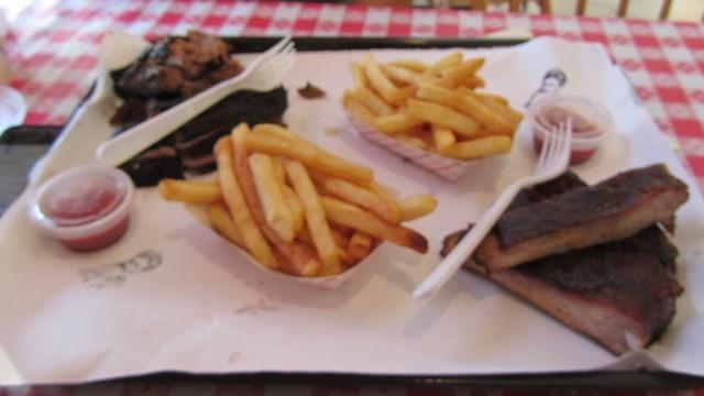 1st visit. ribs. burnt ends. brisket. fries. John Brown Smokehouse.