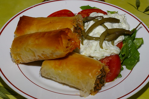 Lamb-filled filo rolls by La belle dame sans souci