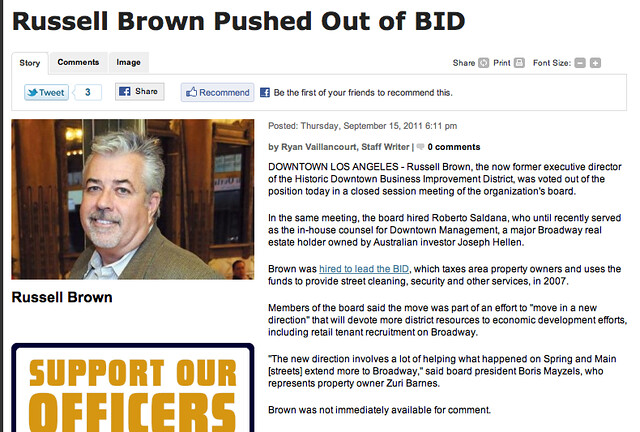 Russell Brown Pushed Out of BID, Downtown News 9/15/11