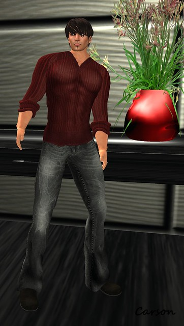 Tres Beau - Red V-Neck Sweater and Black Jeans