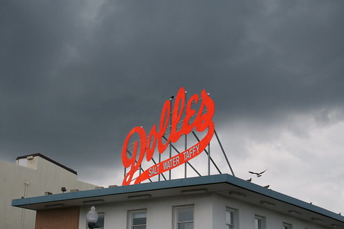 Dolle's taffy with threatening skies