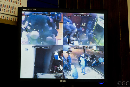 CCTV footage from when a Brixton Pizzeria got raided