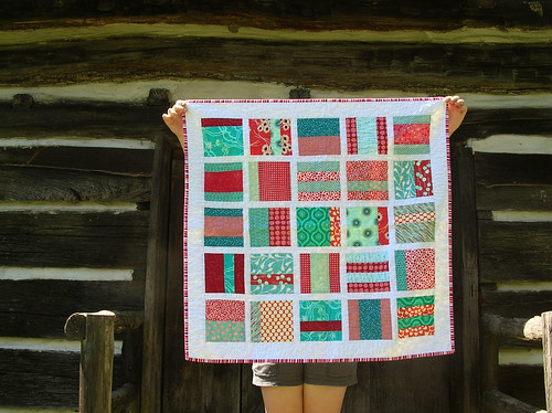 red and aqua baby quilt