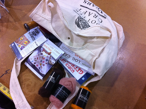 tote bag of prizes for the book party!