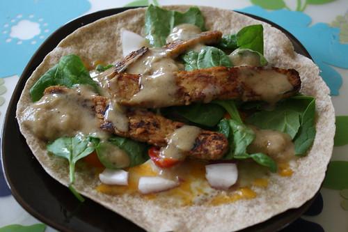 tempeh in whole wheat tortilla wrap