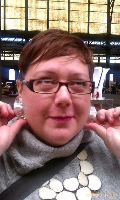 Jenn's new Lucite earrings by Catherine Noll