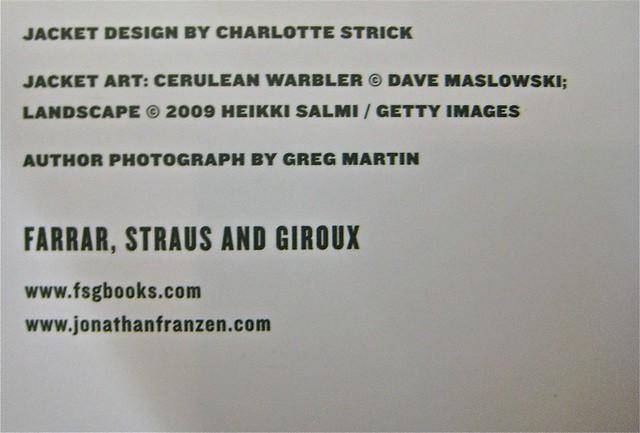 Jonathan Franzen / Freedom / Charlotte Strick. Colophon (part.)