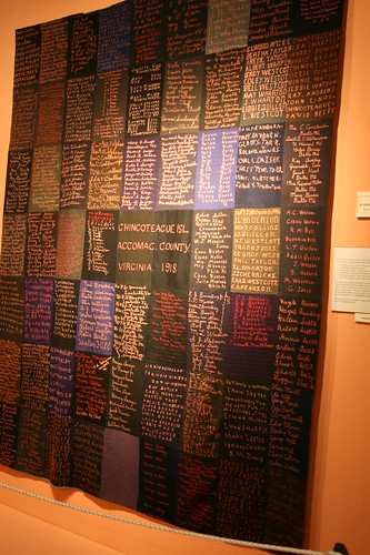 Quilt of embroidered names of Chincoteague