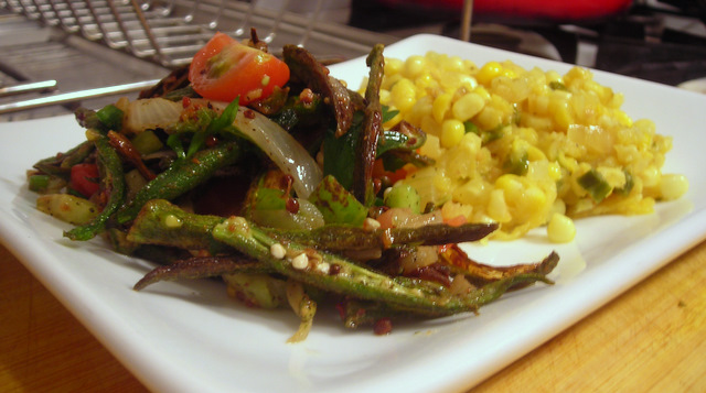 Corn and Hungarian wax pepper salad; crispy okra salad