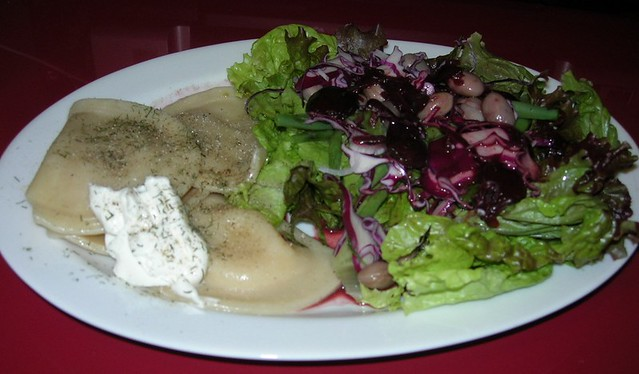 Pierogies & Salad with Balsamic Cherry Vinaigrette