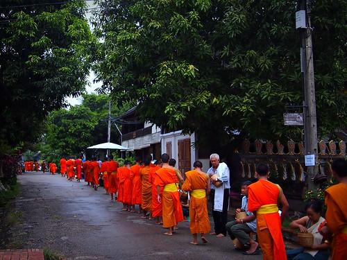 Monks receiving daily morning alms (tak bat), Luang Prabang