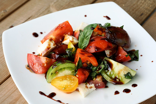 Heirloom Tomato Caprese Salad with Balsamic Reduction