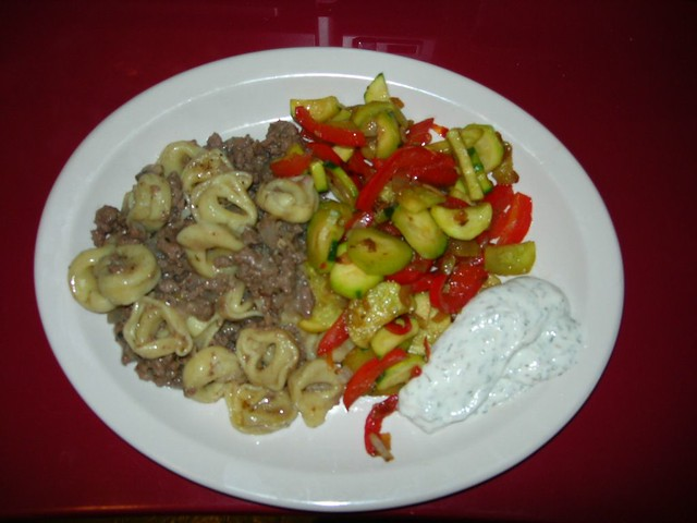 Ground Beef & Mushroom Tortellini, Sauteed Veggies and Dill Sauce