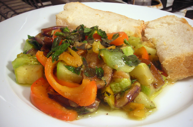 Sautéed eggplant, peppers and summer squash with rocambole garlic and mint