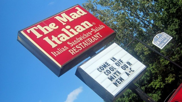 signage at the mad italian
