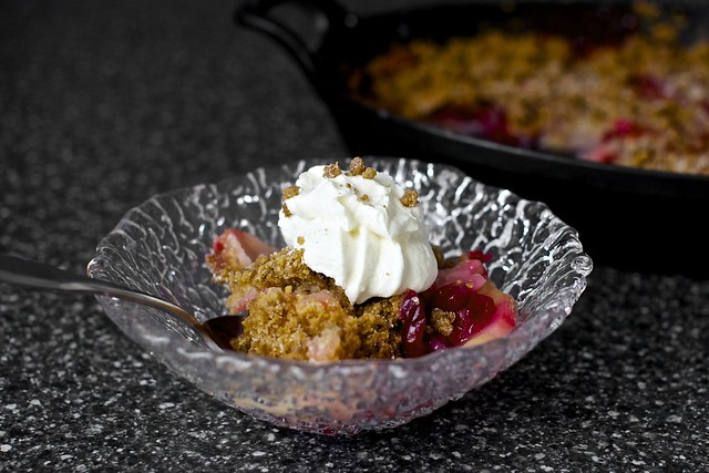 pear cranberry and gingersnap crumble + yogurt