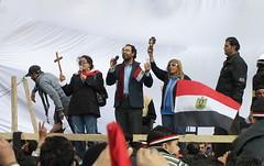 Coptic Christians praying in Tahrir Square