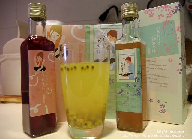 自己加入百香果粒調出來的梅子百香果醋汁,健康又好喝。