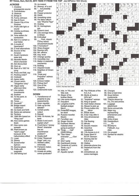 NYT Sunday Puzzle - October 23, 2011