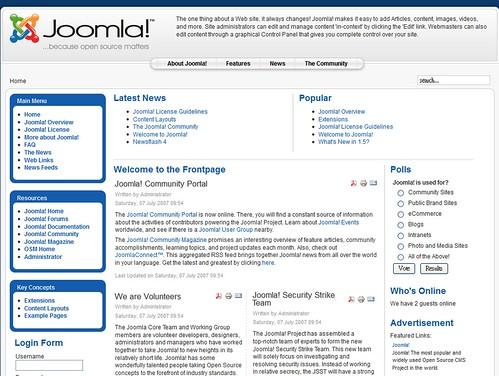 joomla安裝後預設樣板資料