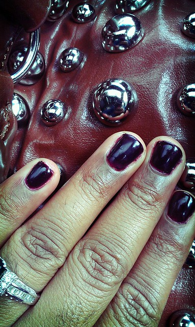 Studs & dark nails