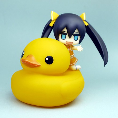 Riding a bath duck XD