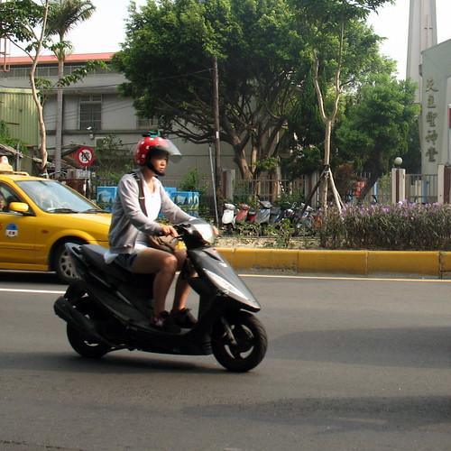 Strawberry moped helmet