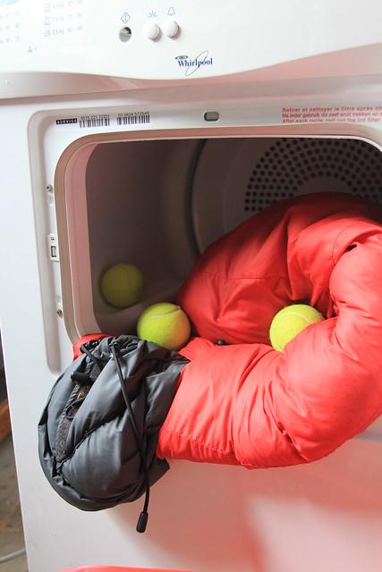 Add tennis balls to the drier