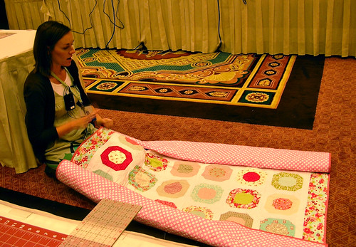 Allison showing us how she quilts