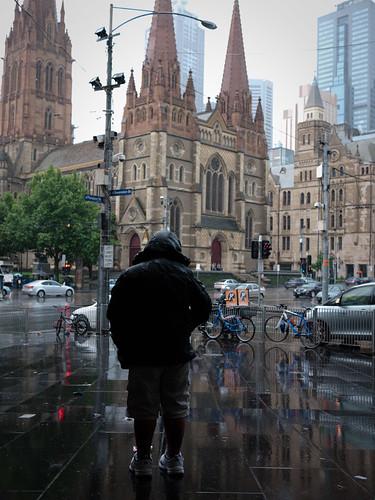 rain on the street