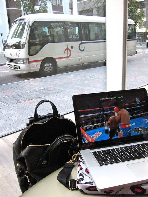 Watching Pacquiao while waiting for van