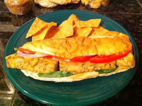 chix fried tofu sandwich