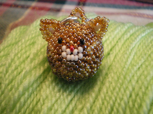 Beaded Bead Cat Keychain